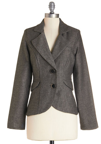 Modern Lit Lecturer Blazer in Grey - Short, Woven, Faux Leather, Grey, Herringbone, Buttons, Pockets, Work, Long Sleeve, Grey, 1