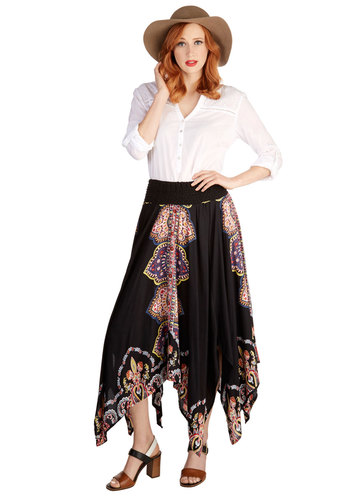 Castanet of Characters Skirt - Good, Black, Mid-length, Woven, Black, Paisley, Casual, Daytime Party, Beach/Resort, Boho, 70s, Festival, Maxi, Spring, Summer, Handkerchief, Vintage Inspired
