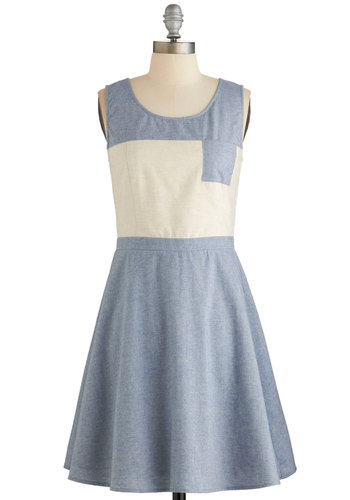Best Block Party Dress - Blue, White, Casual, Colorblocking, A-line, Sleeveless, Woven, Good, Scoop, Pockets, Cotton