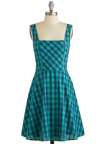 Gingham All You've Got Dress - Green, Blue, Checkered / Gingham, Bows, Casual, Sundress, A-line, Sleeveless, Fall, Woven, Good