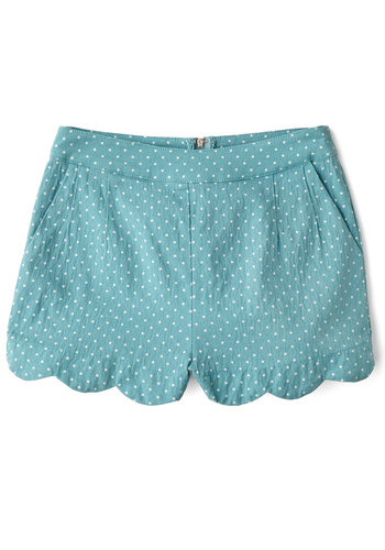 Darling Day Away Shorts in Turquoise Dots - Mid-Rise, Green, Non-Denim, Short, Americana, Polka Dots, Scallops, Casual, Daytime Party, Darling, Spring, Summer, Good, White, Knit, Blue, Pockets