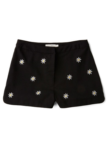 Happy Daisy Shorts - Good, Black, Short, Woven, Black, Floral, Embroidery, Casual, 90s, High Waist, Spring, Summer, High Rise, Vintage Inspired