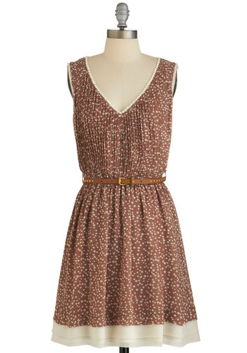 Bonfire Bubbly Dress - Brown, Tan / Cream, Polka Dots, Belted, Casual, A-line, Good, V Neck, Pleats, Fall, Woven, Trim, Short