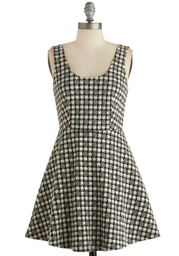 Chess Is More Dress - Black, White, Houndstooth, Casual, Nifty Nerd, A-line, Sleeveless, Fall, Knit, Good, Scoop, Multi, Scholastic/Collegiate, Mid-length