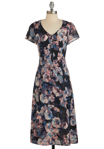 Graceful Garden Gathering Dress by Jack by BB Dakota - Floral, Buttons, Casual, Vintage Inspired, 90s, A-line, Cap Sleeves, Woven, Better, V Neck, Work, Long, Multi, Fall