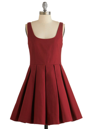 Nonchalant Newcomer Dress by BB Dakota - Red, Solid, Pleats, Casual, Americana, A-line, Sleeveless, Woven, Better, Scoop, Daytime Party, Valentine's, Cotton, Party, Fall, Short