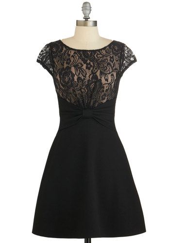Lady of the Hour Dress - Pink, Bows, Lace, Party, A-line, Cap Sleeves, Knit, Good, Scoop, Black, Sheer, Lace