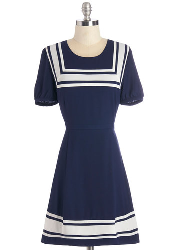 All Eyes on Sea Dress - Blue, White, Casual, Nautical, Americana, A-line, Short Sleeves, Woven, Better, Scoop, Mid-length