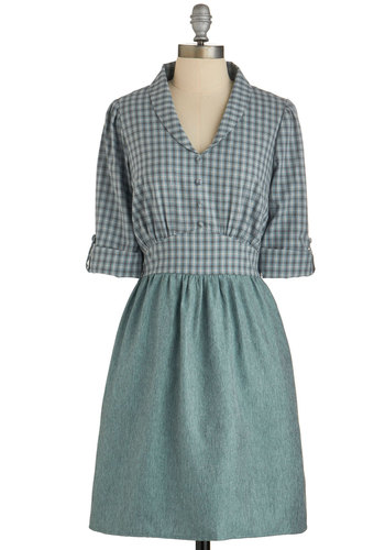 Everyday Intellectual Dress - Green, Buttons, Casual, A-line, Long Sleeve, Better, Plaid, Fall, Woven, Work, Twofer, Mid-length