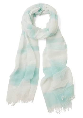 Prow or Later Scarf - Mint, White, Stripes, Casual, Pastel, Green, Sheer, Woven