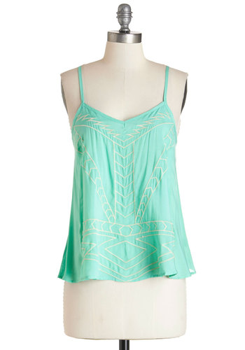 Let It Be Scone Top - Mid-length, Woven, Mint, Other Print, Embroidery, Casual, Beach/Resort, Boho, Festival, Spring, Summer, V Neck, Green, Sleeveless, Print, Spaghetti Straps