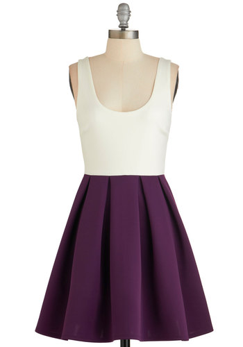 Casually Captivating Dress in Aubergine - Purple, White, Pleats, A-line, Sleeveless, Fall, Woven, Good, Exposed zipper, Twofer, Variation, Scoop