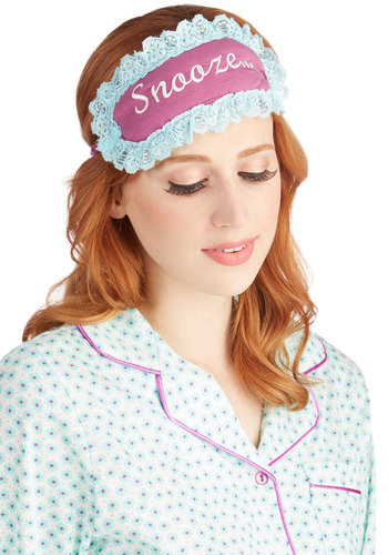 Early Does It Sleep Mask - Purple, Lace, Dorm Decor, Darling, Cotton, Knit, Blue, Novelty Print, Travel, Gals