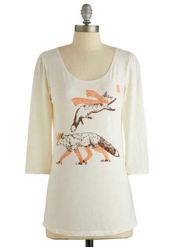 Clever Dresser Top - White, 3/4 Sleeve, Cream, Print with Animals, Novelty Print, Quirky, Critters, 3/4 Sleeve, Fall, Winter, Woodland Creature, Scoop, Mid-length, Top Rated