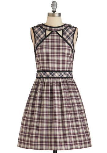 Dear Creatures Well I'll Be Darling Dress in Plaid by Dear Creatures - Multi, Plaid, Cutout, Pockets, Casual, A-line, Sleeveless, Better, Trim, Scholastic/Collegiate, Variation, Cotton, Mid-length, Press Placement