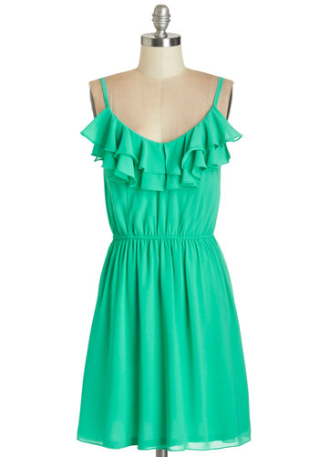 Spring to Fruition Dress - Solid, Ruffles, Casual, Beach/Resort, Sundress, A-line, Summer, Woven, Good, Scoop, Mid-length, Green, Spaghetti Straps