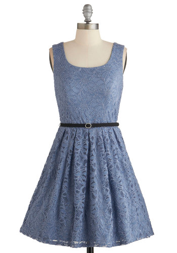 Violin Virtuoso Dress - Blue, Solid, Cutout, Lace, Special Occasion, Prom, Party, Vintage Inspired, 50s, A-line, Sleeveless, Woven, Lace, Better, Scoop, Bows, Belted, Darling