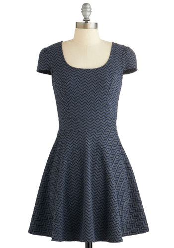 New Internship Dress - Blue, Chevron, Casual, A-line, Cap Sleeves, Fall, Knit, Good, Scoop, Exposed zipper, Short