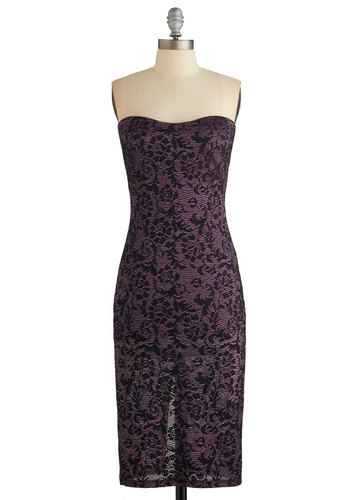 Chic Cabaret Dress - Black, Lace, Special Occasion, Homecoming, Strapless, Woven, Lace, Good, Sweetheart, Purple, Cocktail, Long, Sheath, Valentine's