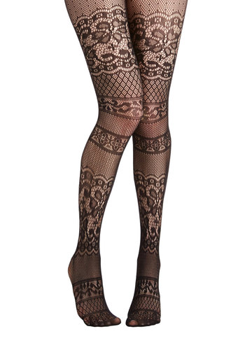 Blissful Thinking Tights - Black, Solid, Film Noir, Pinup, Vintage Inspired, French / Victorian, Boudoir, Sheer, Knit, Lace, Party