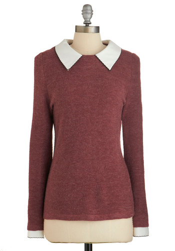 Wine Appreciation Sweater in Bordeaux - Red, Solid, Work, Scholastic/Collegiate, Long Sleeve, Red, Long Sleeve, White, Collared, Mid-length, Peter Pan Collar