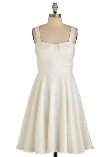 Pull Up A Cherry Dress in Cream - Party, Graduation, A-line, Better, Cream, Wedding, Bride, Vintage Inspired, 50s, Sleeveless, Woven, Sweetheart, Solid, Variation, Mid-length