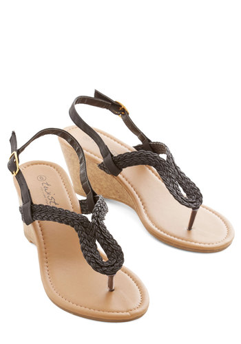 Summer Staple Sandal in Black - Mid, Black, Solid, Braided, Casual, Beach/Resort, Good, Slingback, Wedge, Variation
