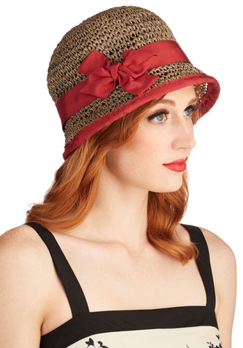 Porch Swing on By Hat - Solid, Bows, Beach/Resort, Vintage Inspired, 20s, Spring, Summer, Red, Brown, Woven, Daytime Party