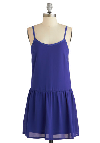 Endless Irises Dress - Blue, Solid, Trim, Casual, Boho, Americana, Drop Waist, Woven, Good, Spaghetti Straps, Festival