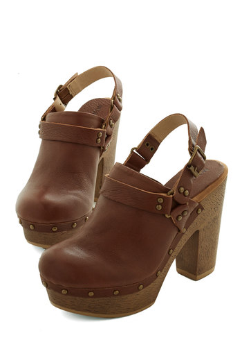 Clogging Miles Heel - Leather, High, Brown, Solid, Buckles, Studs, Boho, Folk Art, Better, Slingback, Chunky heel