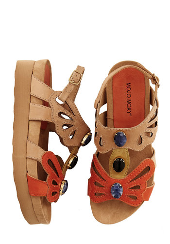 It Would Be My Treasure Sandal - Low, Leather, Multi, Orange, Tan / Cream, Cutout, Casual, Summer