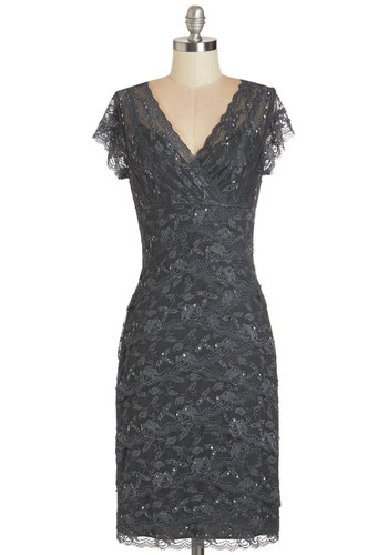 Decadent Dining Dress in Slate - Grey, Solid, Lace, Sequins, Tiered, Special Occasion, Wedding, Bridesmaid, Cap Sleeves, Woven, Lace, Better, V Neck, Mixed Media, Cocktail, Long, Sheath, Holiday Party