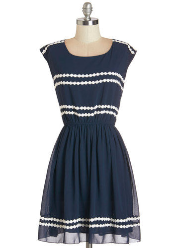 Ideal Days Dress - Blue, White, Trim, Casual, Americana, A-line, Sleeveless, Summer, Woven, Better, Scoop, Mid-length