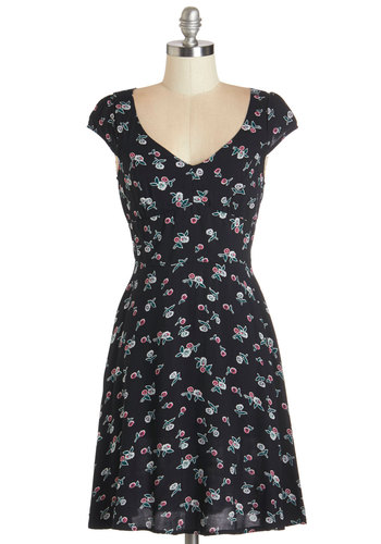 Petal Picking Dress - Multi, Floral, Casual, A-line, Cap Sleeves, Woven, Good, Black, Exclusives, Mid-length