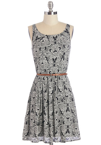 Baking Beginner Dress - Black, White, Print, Belted, Casual, A-line, Sleeveless, Woven, Good, Scoop, Mid-length