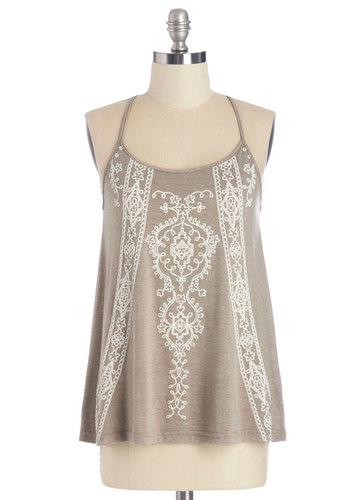 Outdoor Film Festival Top - Mid-length, Knit, Tan, White, Print, Embroidery, Casual, Boho, Vintage Inspired, 70s, Festival, Spaghetti Straps, Summer, Scoop, Brown, Sleeveless