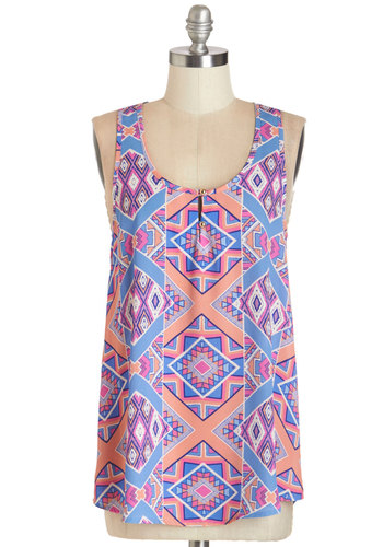 Ceramics Celebration Top - Mid-length, Woven, Multi, Print, Casual, Tank top (2 thick straps), Summer, Scoop, Multi, Sleeveless