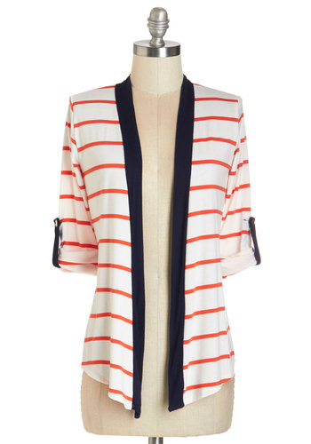 Sunny Studying Cardigan - Mid-length, Knit, White, Coral, Stripes, Casual, Nautical, Short Sleeves, Spring, Summer, White, Short Sleeve