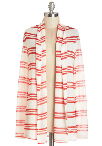 Dinner at the Drive-in Cardigan - Mid-length, Knit, White, Red, Stripes, Casual, Long Sleeve, White, Long Sleeve