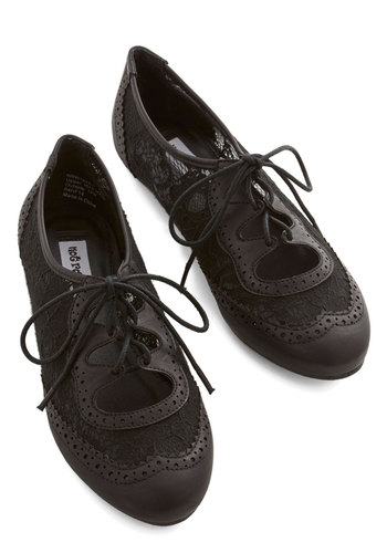 Twee and Easy Flat in Black - Flat, Faux Leather, Lace, Black, Solid, Lace, Casual, Lace Up, Variation