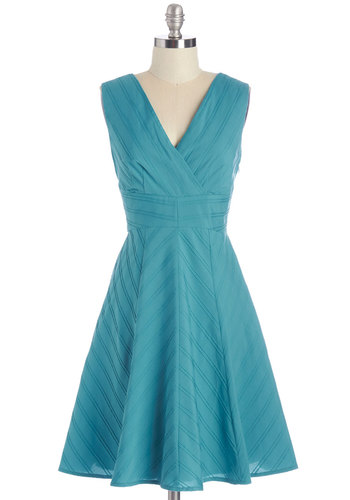 Neat as a Pintuck Dress - Blue, Solid, Special Occasion, Wedding, Bridesmaid, A-line, Sleeveless, Better, V Neck, Daytime Party, Woven, Mid-length