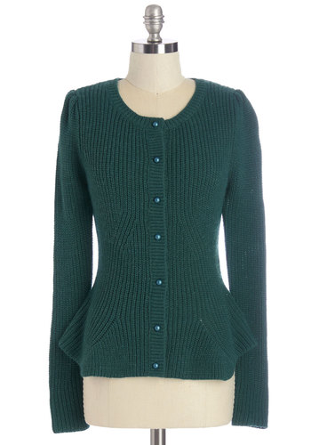 The Harvest Button to Button Cardigan - Green, Long Sleeve, Green, Solid, Buttons, Work, Long Sleeve, International Designer, Vintage Inspired, 40s, 50s, Short, Knit