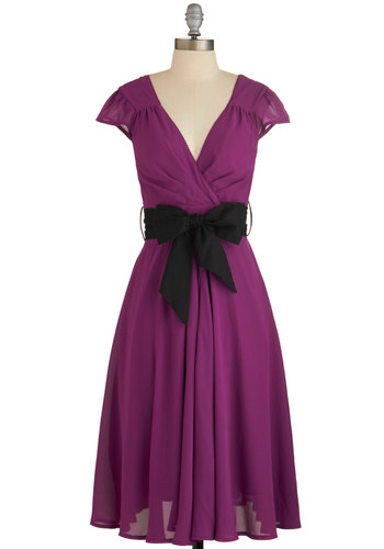 Have the Dance Floor Dress in Mulberry - Purple, Variation, Solid, Belted, Special Occasion, Wedding, Party, Bridesmaid, A-line, Cap Sleeves, Woven, Better, V Neck, Exclusives, Full-Size Run, Valentine's