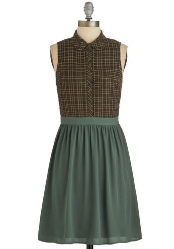 Fresh Garden Herbs Dress - Multi, Plaid, Casual, Sleeveless, Good, Collared, Peter Pan Collar, Work, Nifty Nerd, A-line, Fall, Woven, Green, Brown, Scholastic/Collegiate, Mid-length