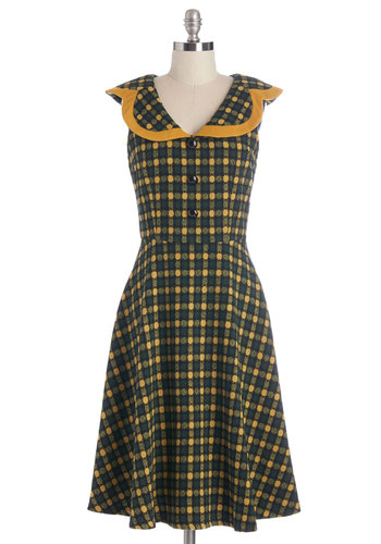 Round-The-Frock Elegance Dress - Green, Yellow, Checkered / Gingham, Buttons, Casual, A-line, Sleeveless, Better, Fall, Woven, Trim, Vintage Inspired, 50s, Long