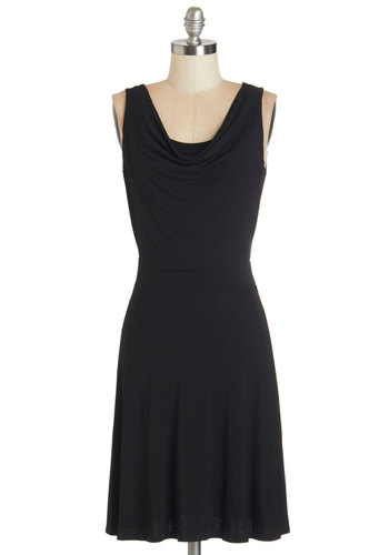 Late Night Dessert Dress - Black, Solid, Casual, A-line, Sleeveless, Knit, Good, Cowl, Jersey, Mid-length