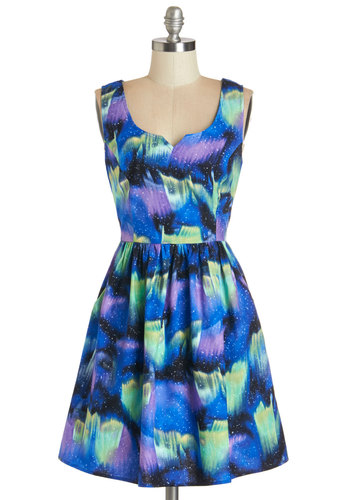Northern Bright Dress - Blue, Purple, Print, Party, A-line, Tank top (2 thick straps), Better, Scoop, Cosmic, Multi, Pockets, Exclusives, Full-Size Run, Top Rated, Mid-length