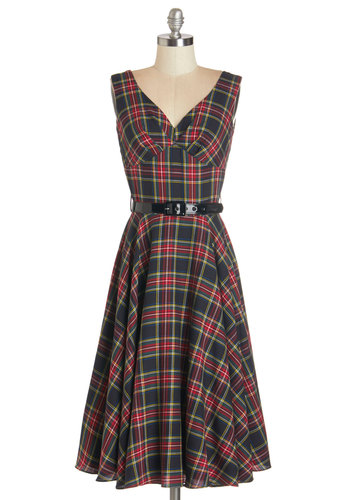 Pretty as a Rose Dress in Midnight Bloom by Bernie Dexter - Multi, Plaid, Belted, Casual, A-line, Tank top (2 thick straps), Better, V Neck, Vintage Inspired, Variation, Scholastic/Collegiate, Woven, Long