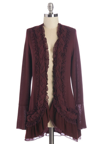 By the Flickering Firelight Cardigan in Merlot - Red, Solid, Ruffles, Long Sleeve, Red, Long Sleeve, Fall, Knit