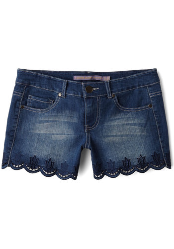 Garden Border Shorts - Spring, Summer, Good, Blue, Medium Wash, Short, Denim, Woven, Blue, Solid, Embroidery, Scallops, Casual, Beach/Resort, Boho, Festival, Low-Rise, Pockets